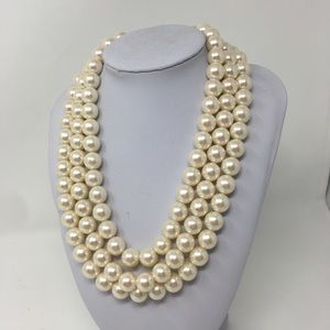 Vintage 3-Strand Faux Pearl Choker/ Necklace Gold